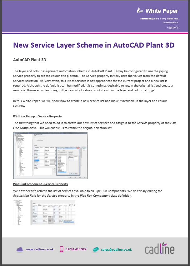 New Service Layer Scheme in AutoCAD Plant 3D – Cadline